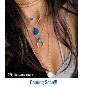 Fashion Multi-layer Necklace  Blue Drop Shape